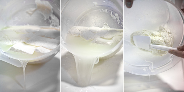 The curds will reduce in size after each time hot water is added to the curds and then drained.