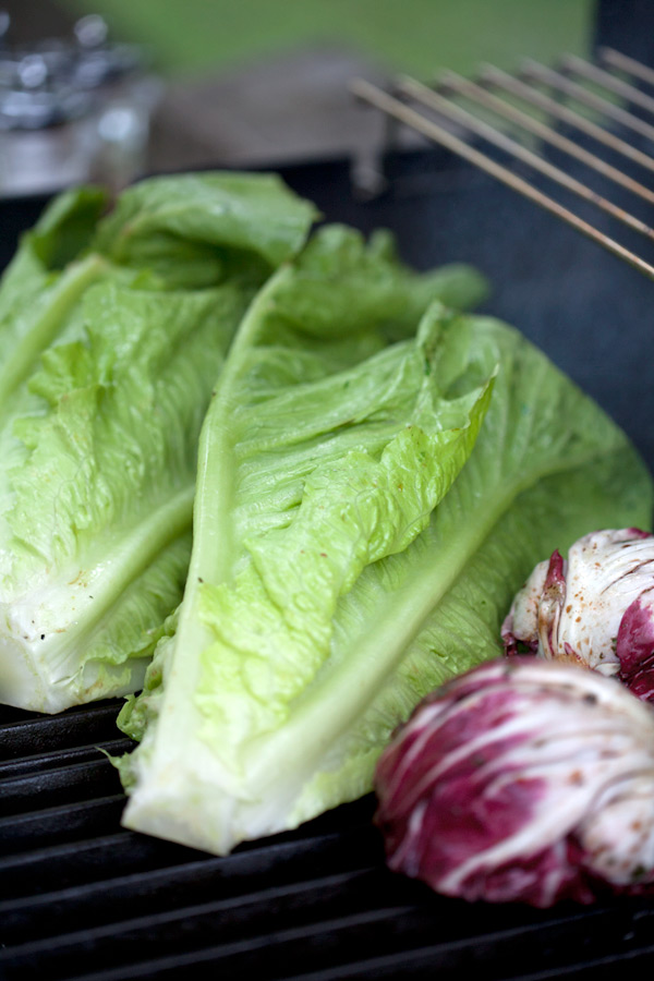 grilled romaine and radicchio lettuce