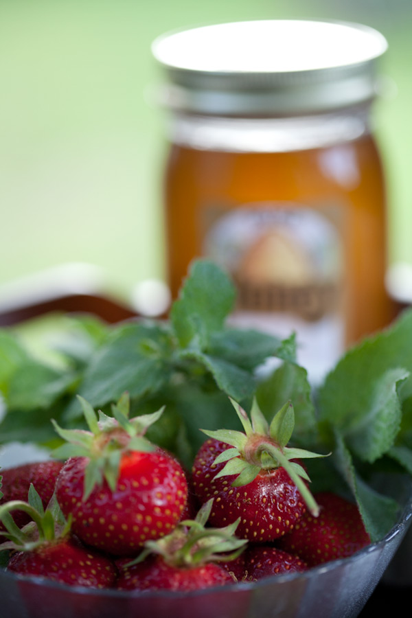 Local honey and freshly picked strawberries