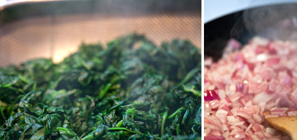 Wilted spinach and sautéed red onions