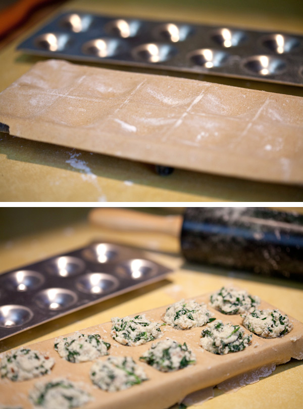 Making the ravioli with a mold