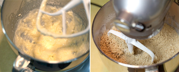 Whipped butter, oil and honey. Dough forms into tiny balls after the flour is mixed in.